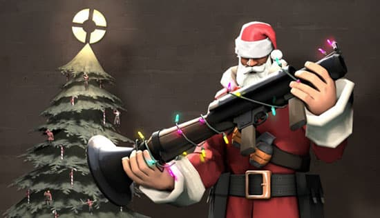 Christmas father with missile launcher